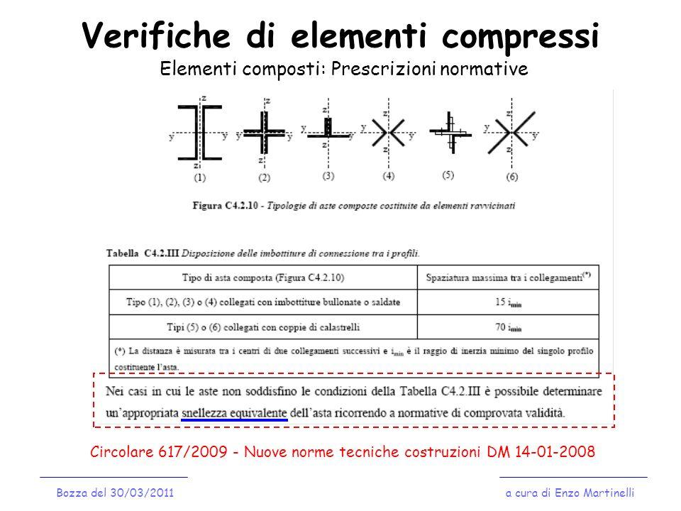 Verifiche di elementi compressi a cura di Enzo MartinelliBozza del 30/03/2011 Elementi composti: Prescrizioni normative Circolare 617/2009 - Nuove nor