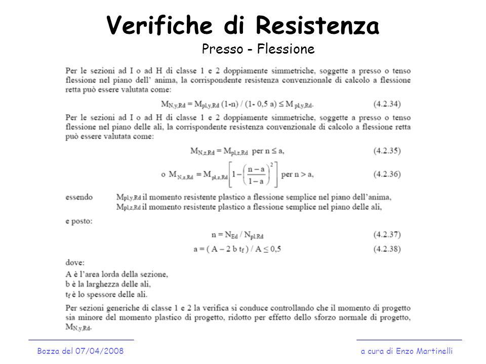 Verifiche di Resistenza a cura di Enzo MartinelliBozza del 07/04/2008 Presso - Flessione