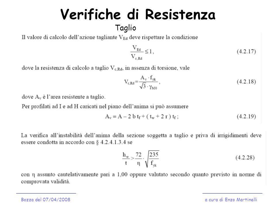 Verifiche di Resistenza a cura di Enzo MartinelliBozza del 07/04/2008 Taglio
