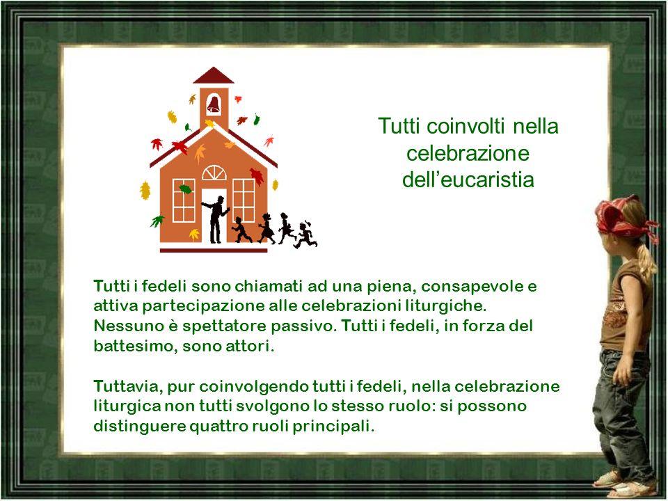 Tutti coinvolti nella celebrazione delleucaristia Tutti i fedeli sono chiamati ad una piena, consapevole e attiva partecipazione alle celebrazioni liturgiche.