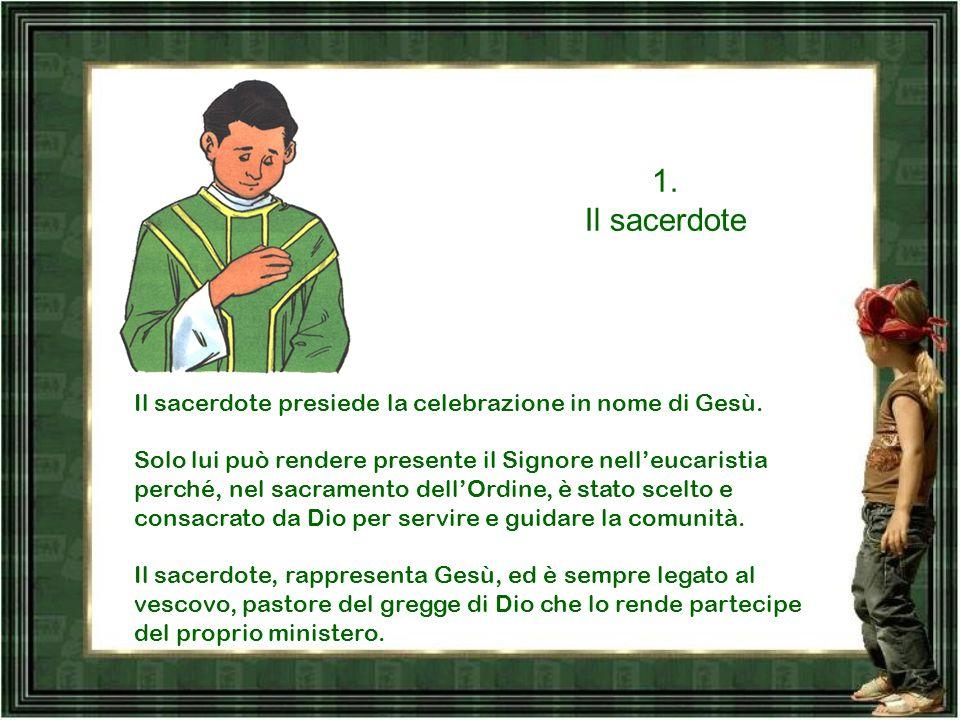 I quattro ruoli, a cui abbiamo accennato, sono quelli svolti da: 1.Il sacerdote 2.Il Diacono 3.I ministri (lettori, accoliti, chierichetti…) 4.il popo