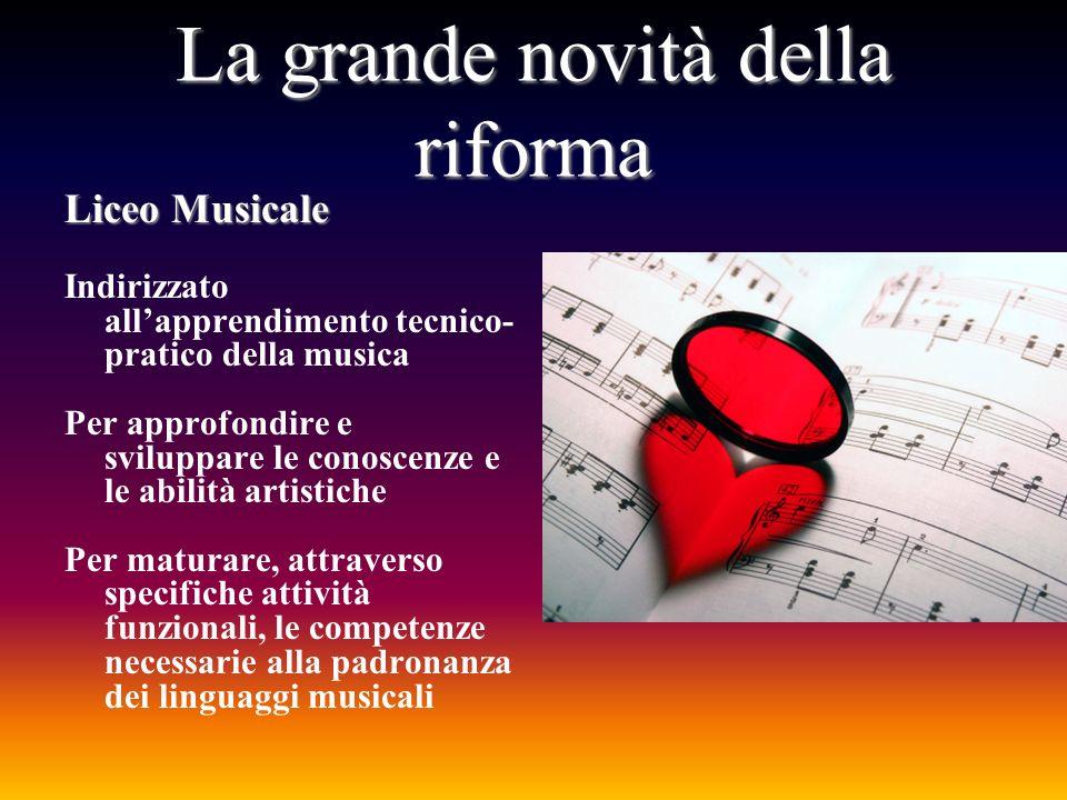 La grande novità della riforma Liceo Musicale Indirizzato allapprendimento tecnico- pratico della musica Per approfondire e sviluppare le conoscenze e