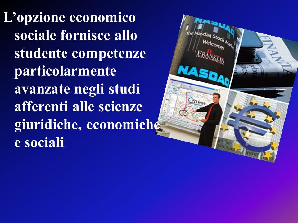 Lopzione economico sociale fornisce allo studente competenze particolarmente avanzate negli studi afferenti alle scienze giuridiche, economiche e soci