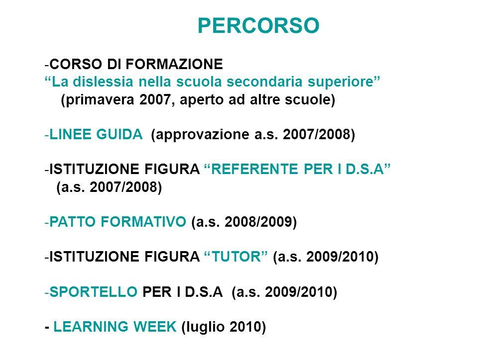 PERCORSO -CORSO DI FORMAZIONE La dislessia nella scuola secondaria superiore (primavera 2007, aperto ad altre scuole) -LINEE GUIDA (approvazione a.s.