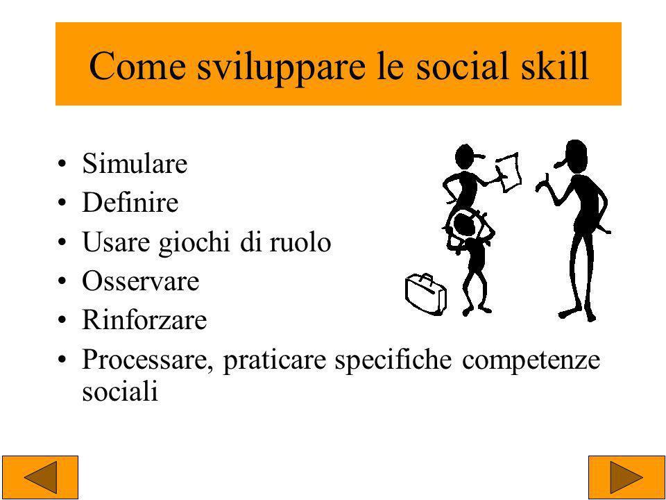Simulare Definire Usare giochi di ruolo Osservare Rinforzare Processare, praticare specifiche competenze sociali Come sviluppare le social skill