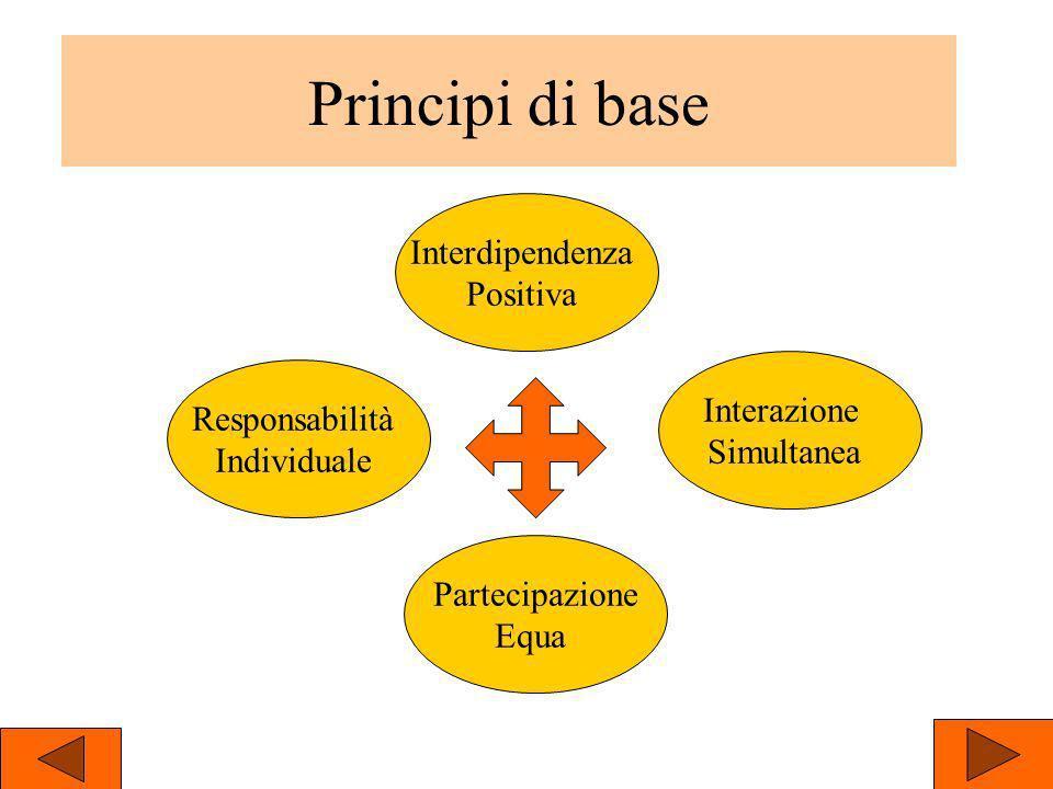 Principi di base Responsabilità Individuale Partecipazione Equa Interdipendenza Positiva Interazione Simultanea