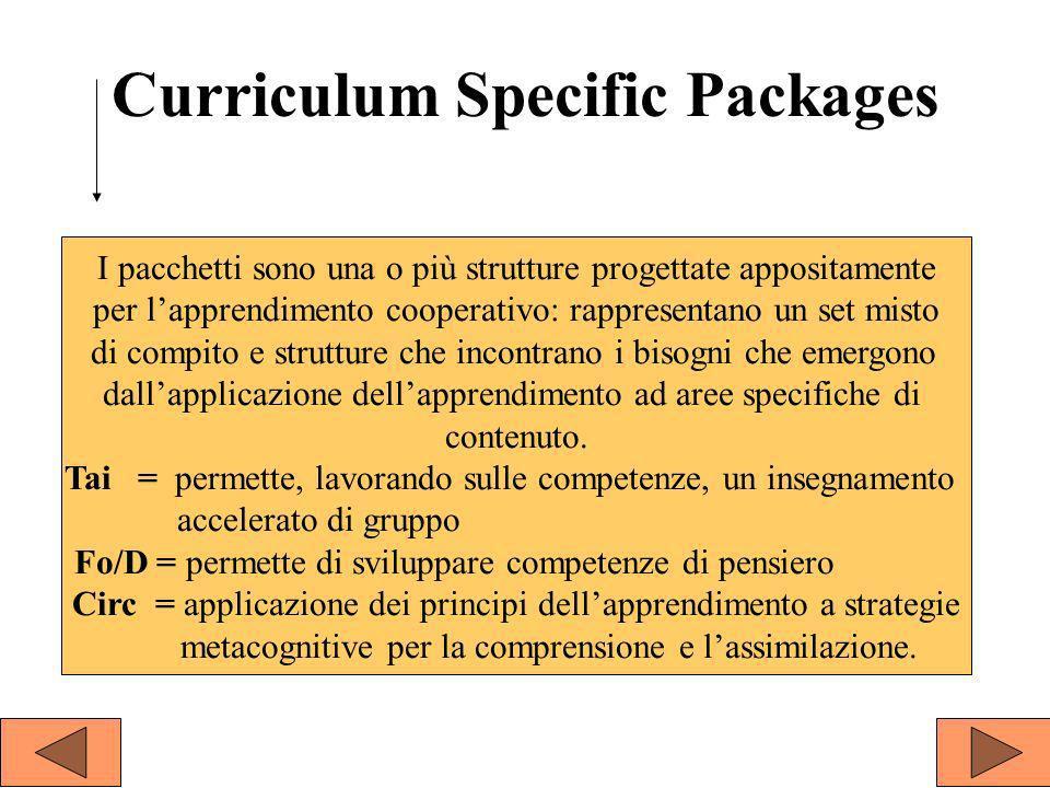Curriculum Specific Packages I pacchetti sono una o più strutture progettate appositamente per lapprendimento cooperativo: rappresentano un set misto