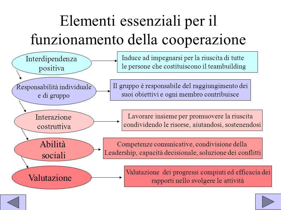 Elementi essenziali per il funzionamento della cooperazione Interdipendenza positiva Responsabilità individuale e di gruppo Abilità sociali Interazion