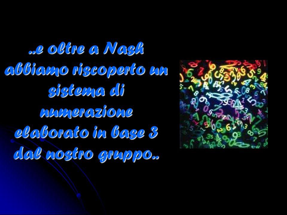 ..e oltre a Nash abbiamo riscoperto un sistema di numerazione elaborato in base 3 dal nostro gruppo..