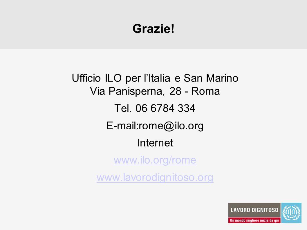 Grazie! Ufficio ILO per lItalia e San Marino Via Panisperna, 28 - Roma Tel. 06 6784 334 E-mail:rome@ilo.org Internet www.ilo.org/rome www.lavorodignit