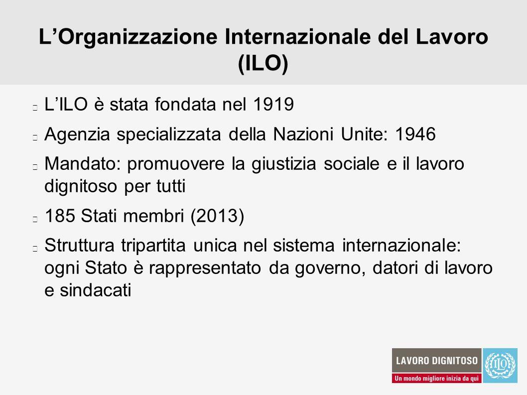 LOrganizzazione Internazionale del Lavoro (ILO) LILO è stata fondata nel 1919 Agenzia specializzata della Nazioni Unite: 1946 Mandato: promuovere la g