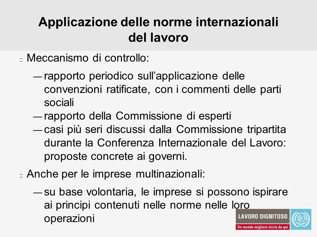 Applicazione delle norme internazionali del lavoro Meccanismo di controllo: rapporto periodico sullapplicazione delle convenzioni ratificate, con i co