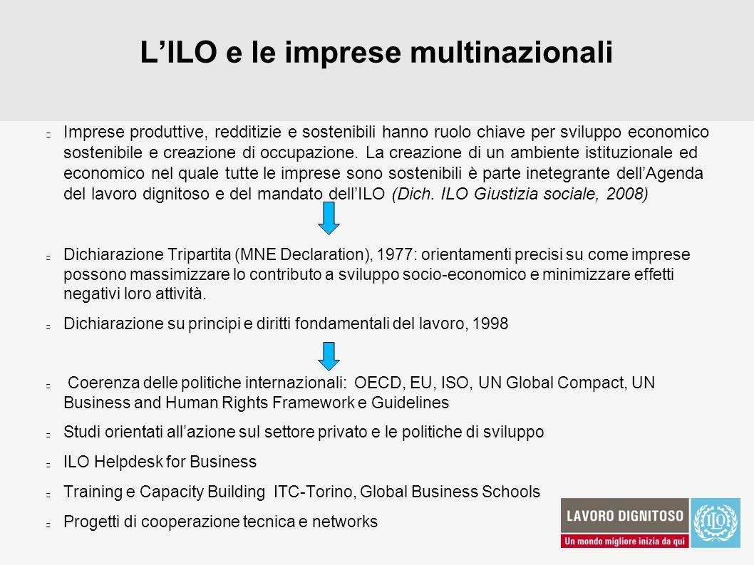 LILO e le imprese multinazionali Imprese produttive, redditizie e sostenibili hanno ruolo chiave per sviluppo economico sostenibile e creazione di occ
