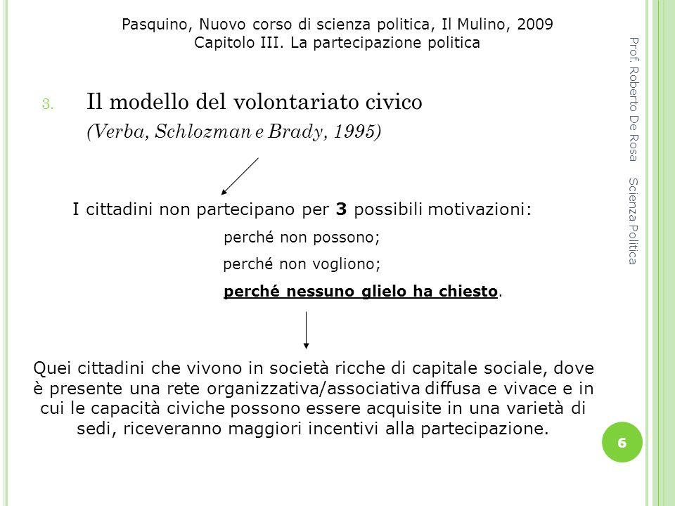 Pasquino, Nuovo corso di scienza politica, Il Mulino, 2009 Capitolo III. La partecipazione politica 3. Il modello del volontariato civico (Verba, Schl