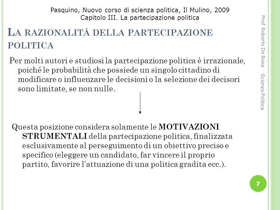 Pasquino, Nuovo corso di scienza politica, Il Mulino, 2009 Capitolo III. La partecipazione politica L A RAZIONALITÀ DELLA PARTECIPAZIONE POLITICA Per