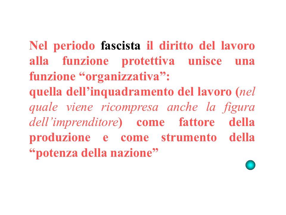Nel periodo fascista il diritto del lavoro alla funzione protettiva unisce una funzione organizzativa: quella dellinquadramento del lavoro (nel quale viene ricompresa anche la figura dellimprenditore) come fattore della produzione e come strumento della potenza della nazione