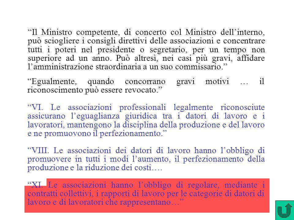 Il Ministro competente, di concerto col Ministro dellinterno, può sciogliere i consigli direttivi delle associazioni e concentrare tutti i poteri nel presidente o segretario, per un tempo non superiore ad un anno.