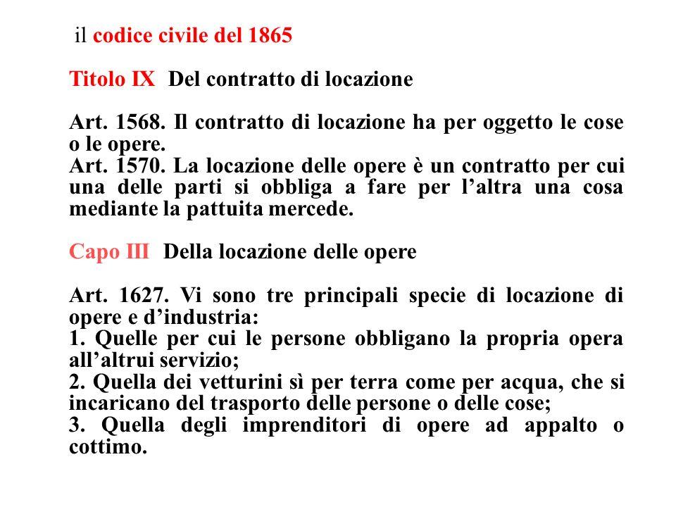 il codice civile del 1865 Titolo IX Del contratto di locazione Art. 1568. Il contratto di locazione ha per oggetto le cose o le opere. Art. 1570. La l