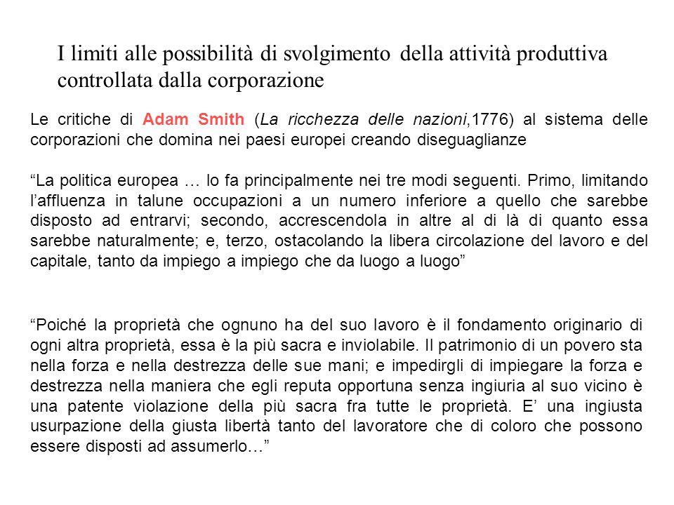 I limiti alle possibilità di svolgimento della attività produttiva controllata dalla corporazione Le critiche di Adam Smith (La ricchezza delle nazion