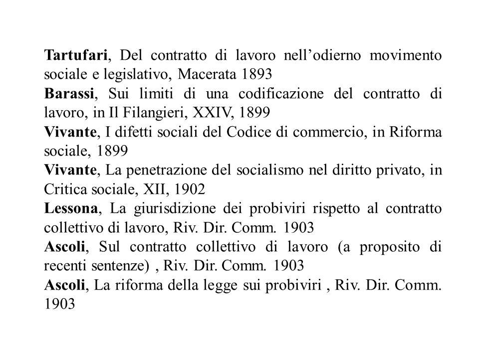 Tartufari, Del contratto di lavoro nellodierno movimento sociale e legislativo, Macerata 1893 Barassi, Sui limiti di una codificazione del contratto d