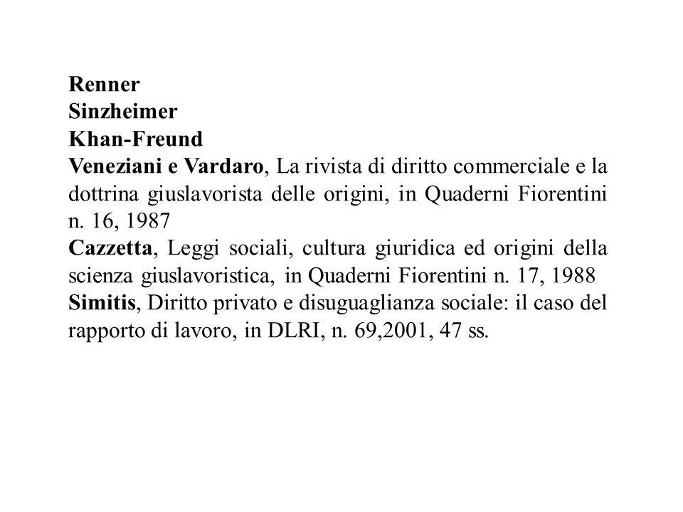 Renner Sinzheimer Khan-Freund Veneziani e Vardaro, La rivista di diritto commerciale e la dottrina giuslavorista delle origini, in Quaderni Fiorentini