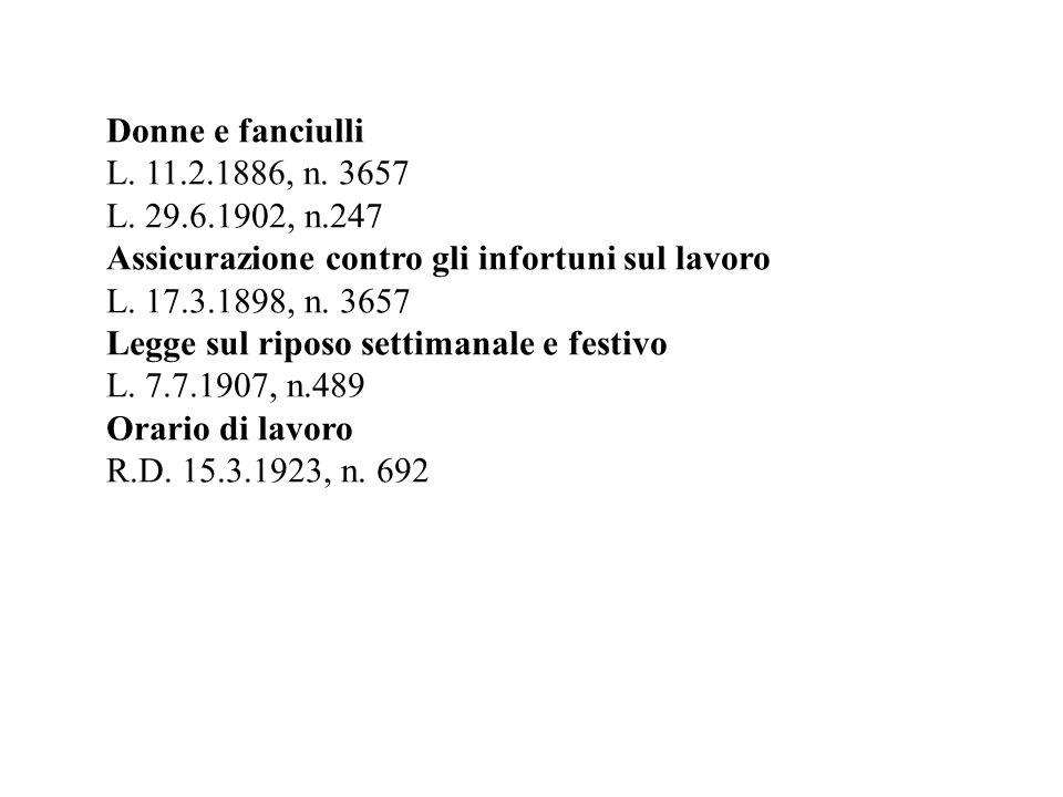 Donne e fanciulli L. 11.2.1886, n. 3657 L. 29.6.1902, n.247 Assicurazione contro gli infortuni sul lavoro L. 17.3.1898, n. 3657 Legge sul riposo setti