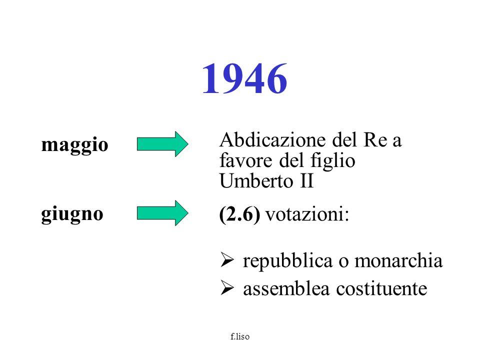 f.liso 1946 maggio Abdicazione del Re a favore del figlio Umberto II giugno (2.6) votazioni: repubblica o monarchia assemblea costituente