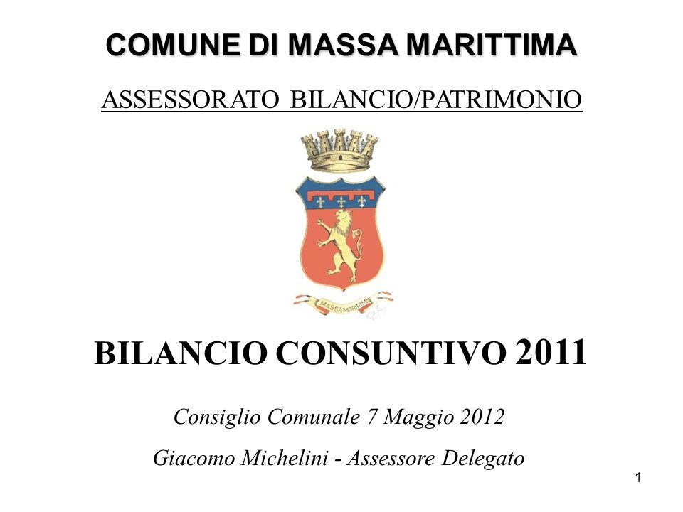 1 COMUNE DI MASSA MARITTIMA BILANCIO CONSUNTIVO 2011 ASSESSORATO BILANCIO/PATRIMONIO Consiglio Comunale 7 Maggio 2012 Giacomo Michelini - Assessore De