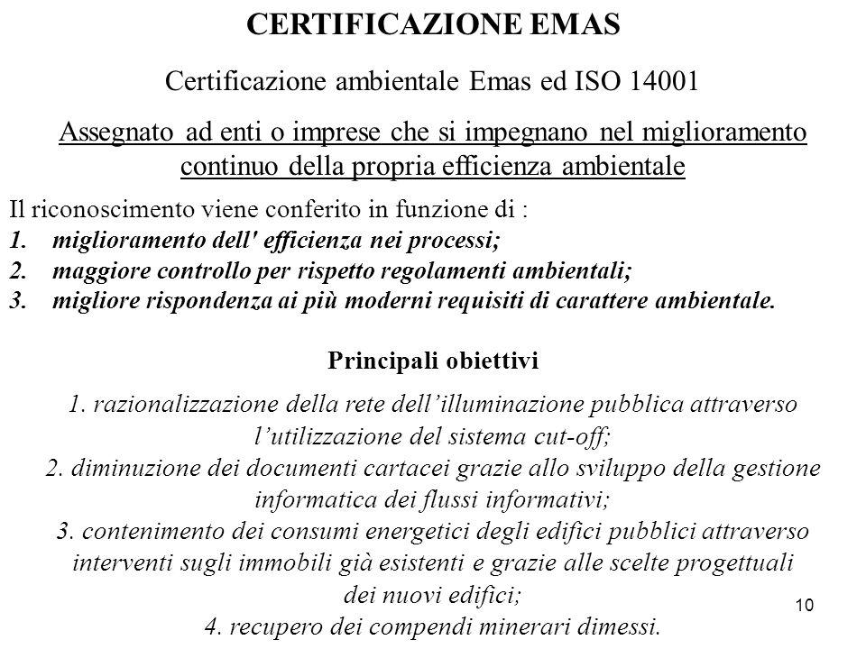 10 CERTIFICAZIONE EMAS Certificazione ambientale Emas ed ISO 14001 Assegnato ad enti o imprese che si impegnano nel miglioramento continuo della propr