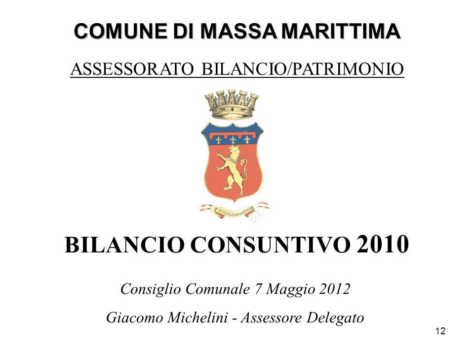 12 COMUNE DI MASSA MARITTIMA BILANCIO CONSUNTIVO 2010 ASSESSORATO BILANCIO/PATRIMONIO Consiglio Comunale 7 Maggio 2012 Giacomo Michelini - Assessore D