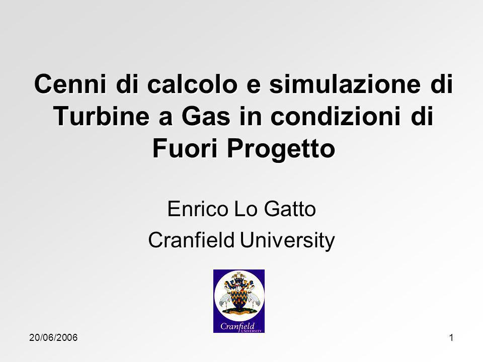 20/06/20061 Cenni di calcolo e simulazione di Turbine a Gas in condizioni di Fuori Progetto Enrico Lo Gatto Cranfield University