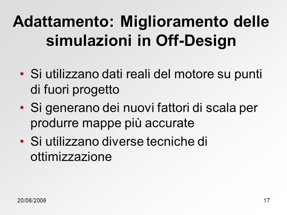 20/06/200617 Adattamento: Miglioramento delle simulazioni in Off-Design Si utilizzano dati reali del motore su punti di fuori progetto Si generano dei