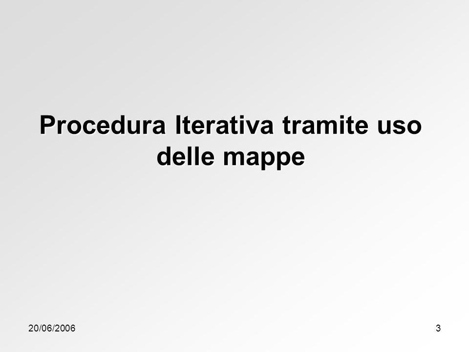 20/06/20063 Procedura Iterativa tramite uso delle mappe