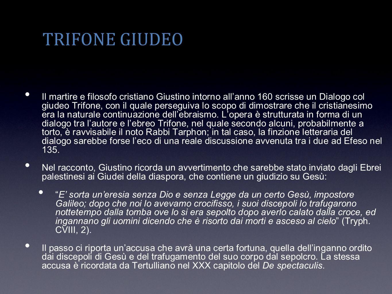 TRIFONE GIUDEO Il martire e filosofo cristiano Giustino intorno allanno 160 scrisse un Dialogo col giudeo Trifone, con il quale perseguiva lo scopo di