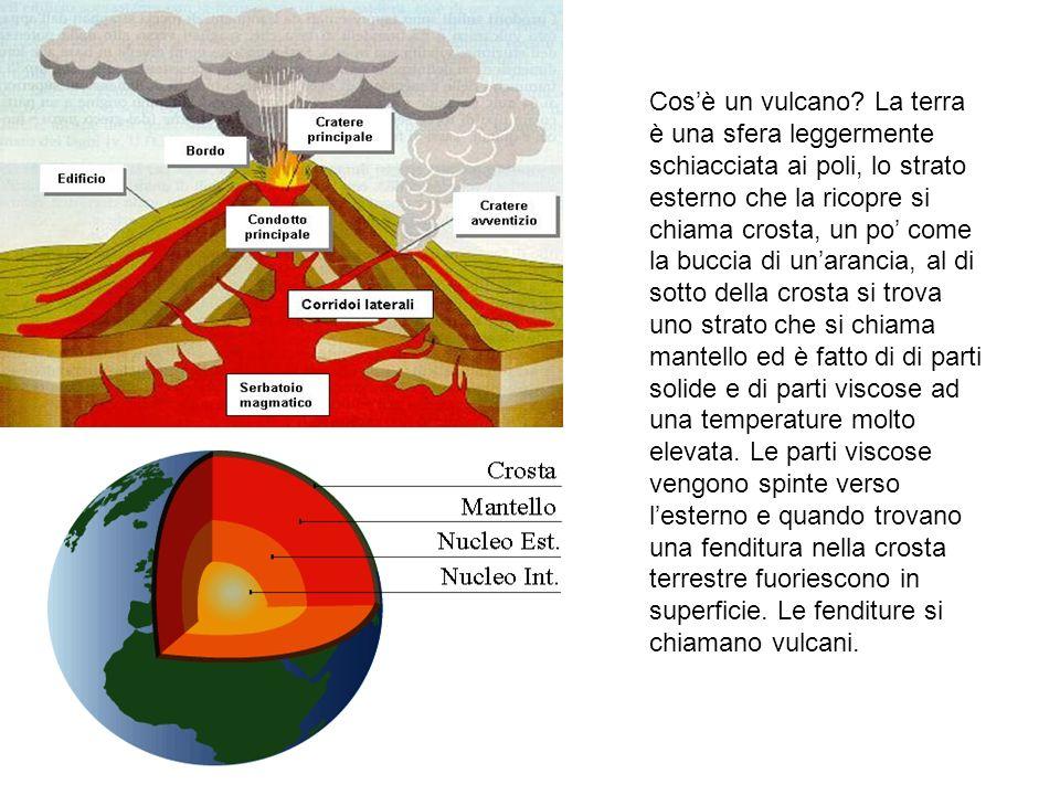 Cosè un vulcano? La terra è una sfera leggermente schiacciata ai poli, lo strato esterno che la ricopre si chiama crosta, un po come la buccia di unar