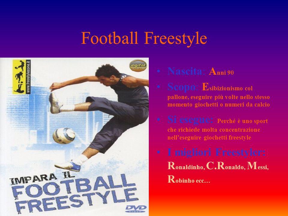Football Freestyle Nascita: A nni 90 Scopo: E sibizionismo col pallone, eseguire più volte nello stesso momento giochetti o numeri da calcio Si esegue