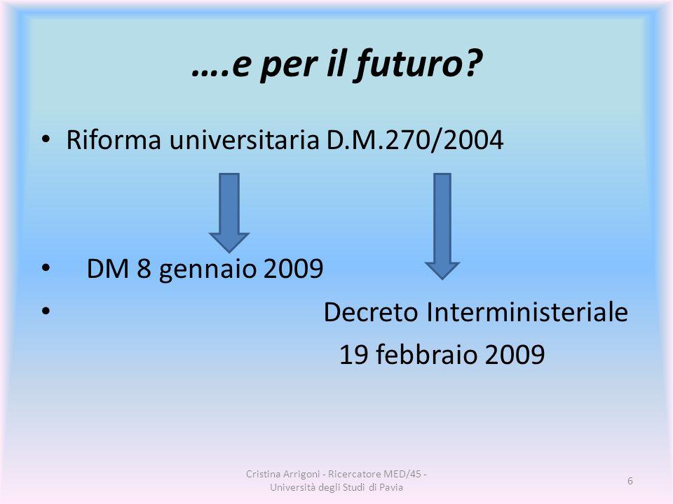 ….e per il futuro? Riforma universitaria D.M.270/2004 DM 8 gennaio 2009 Decreto Interministeriale 19 febbraio 2009 Cristina Arrigoni - Ricercatore MED
