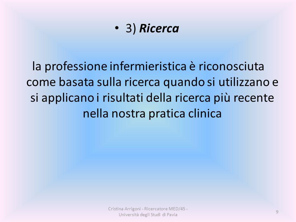 3) Ricerca la professione infermieristica è riconosciuta come basata sulla ricerca quando si utilizzano e si applicano i risultati della ricerca più recente nella nostra pratica clinica Cristina Arrigoni - Ricercatore MED/45 - Università degli Studi di Pavia 9