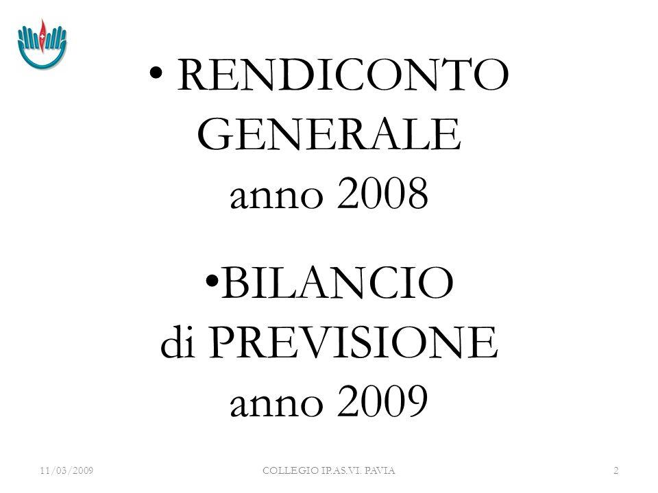 11/03/2009COLLEGIO IP.AS.VI. PAVIA3 RENDICONTO GENERALE Anno 2008