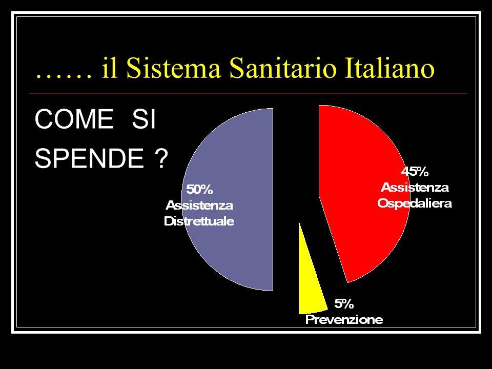 La spesa per il Sistema Sanitario Italiano Anno 2003 80 miliardi di euro Anno 200489 miliardi di euro Anno 2005 97 miliardi di euro Anno 2006/09 100/1