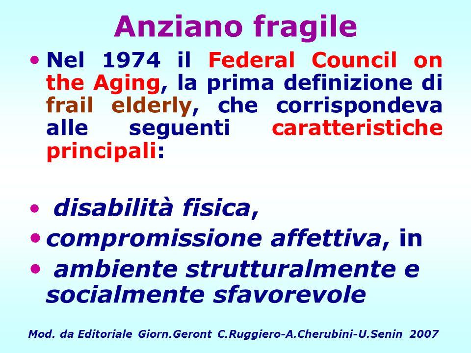Anziano fragile Nel 1974 il Federal Council on the Aging, la prima definizione di frail elderly, che corrispondeva alle seguenti caratteristiche princ