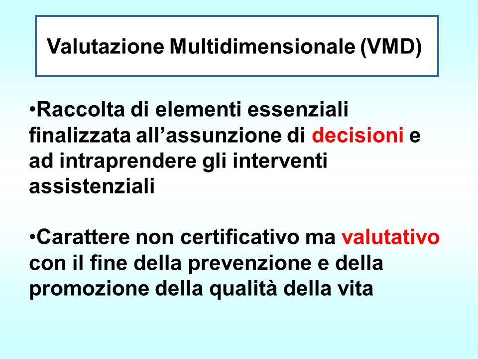 Valutazione Multidimensionale (VMD) Raccolta di elementi essenziali finalizzata allassunzione di decisioni e ad intraprendere gli interventi assistenz