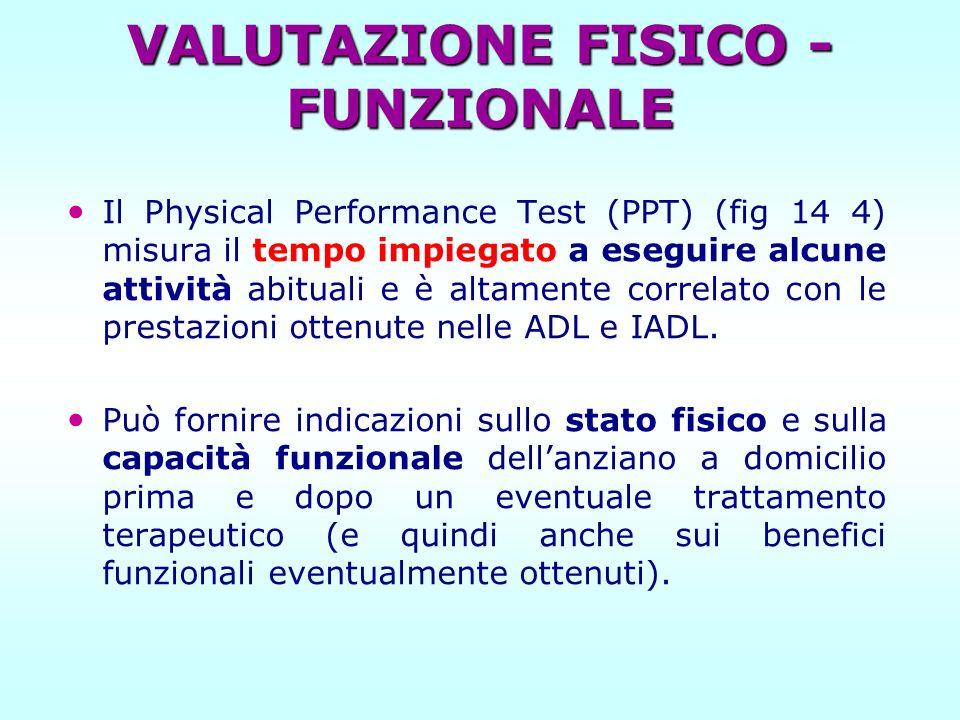 VALUTAZIONE FISICO - FUNZIONALE Il Physical Performance Test (PPT) (fig 14 4) misura il tempo impiegato a eseguire alcune attività abituali e è altame