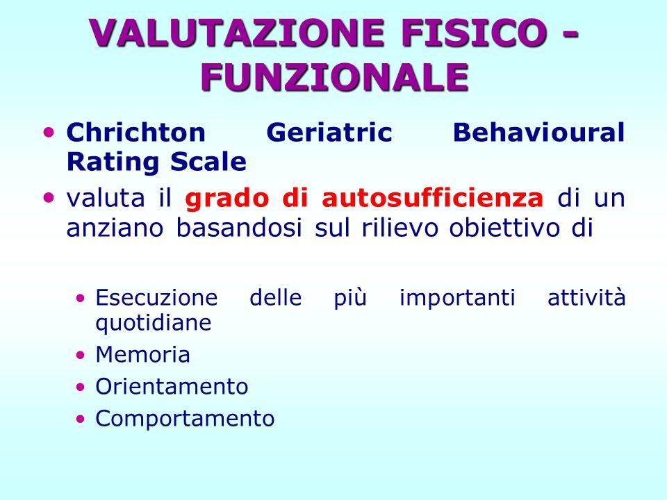 Chrichton Geriatric Behavioural Rating Scale valuta il grado di autosufficienza di un anziano basandosi sul rilievo obiettivo di Esecuzione delle più