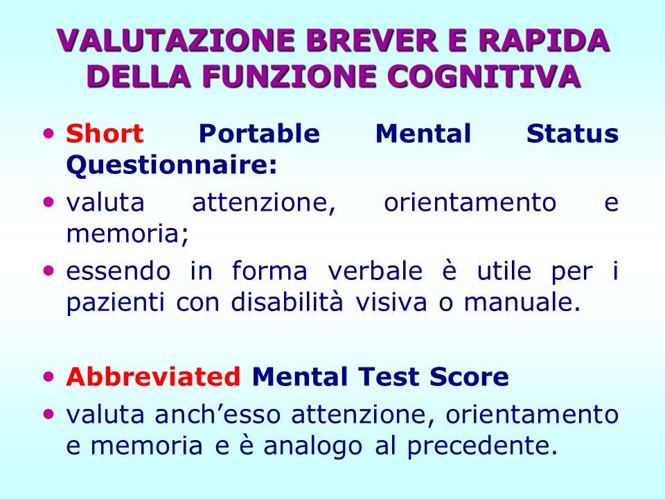 VALUTAZIONE BREVER E RAPIDA DELLA FUNZIONE COGNITIVA Short Portable Mental Status Questionnaire: valuta attenzione, orientamento e memoria; essendo in