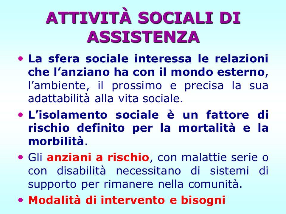 ATTIVITÀ SOCIALI DI ASSISTENZA La sfera sociale interessa le relazioni che lanziano ha con il mondo esterno, lambiente, il prossimo e precisa la sua a