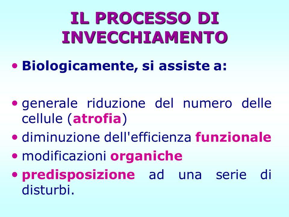 IL PROCESSO DI INVECCHIAMENTO Biologicamente, si assiste a: generale riduzione del numero delle cellule (atrofia) diminuzione dell'efficienza funziona