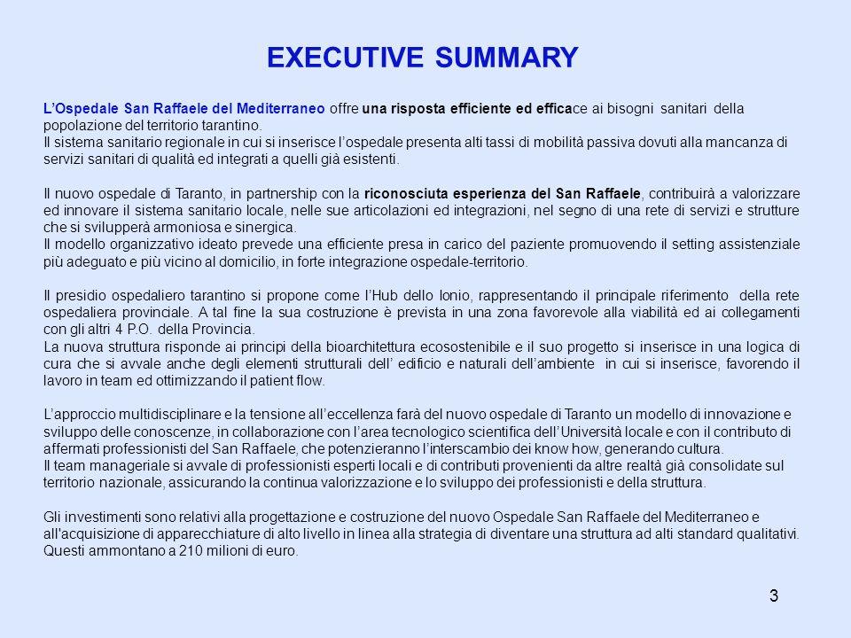 EXECUTIVE SUMMARY LOspedale San Raffaele del Mediterraneo offre una risposta efficiente ed efficace ai bisogni sanitari della popolazione del territor