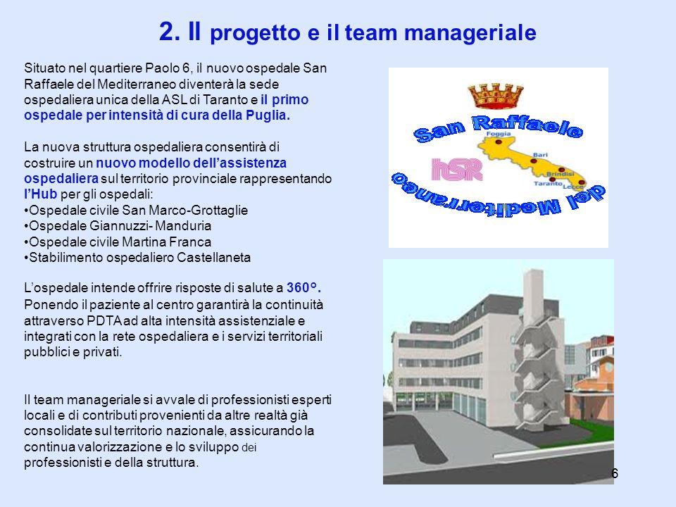 2. Il progetto e il team manageriale Situato nel quartiere Paolo 6, il nuovo ospedale San Raffaele del Mediterraneo diventerà la sede ospedaliera unic