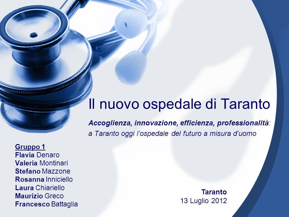 Il nuovo ospedale di Taranto Accoglienza, innovazione, efficienza, professionalità: a Taranto oggi lospedale del futuro a misura duomo Gruppo 1 Flavia